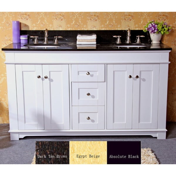 Natural Granite Top 60-inch Double Sink Bathroom Vanity in White ...