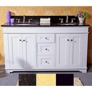 natural granite top inch double sink bathroom vanity in white, Bathroom decor