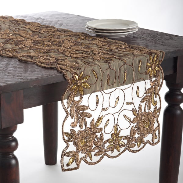 Etonnant Hand Beaded Design Table Topper Or Table Runner