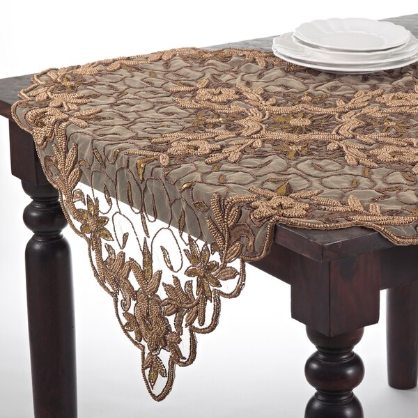 Hand Beaded Design Table Topper Or Table Runner   Free Shipping Today    Overstock.com   15733944