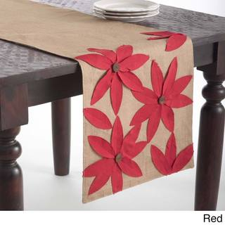 Flower Design Jute Table Runner