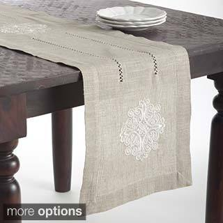 Medallion Design Embroidered Linen Blend Table Topper or Table Runner