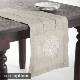 Medallion Design Embroidered Linen Blend Table Topper or Table Runner
