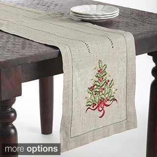 Christmas Tree Design Embroidered Table Topper Or Table Runner