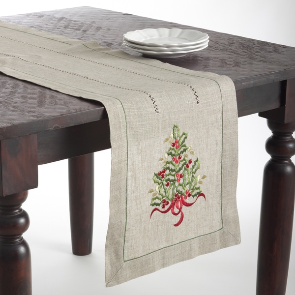 Christmas Tree Design Embroidered Table Topper or Table Runner. Opens flyout.