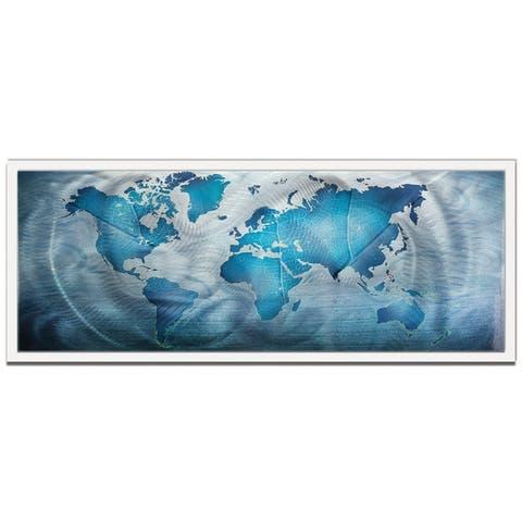 Land & Sea' Modern World Map Metal Wall Art