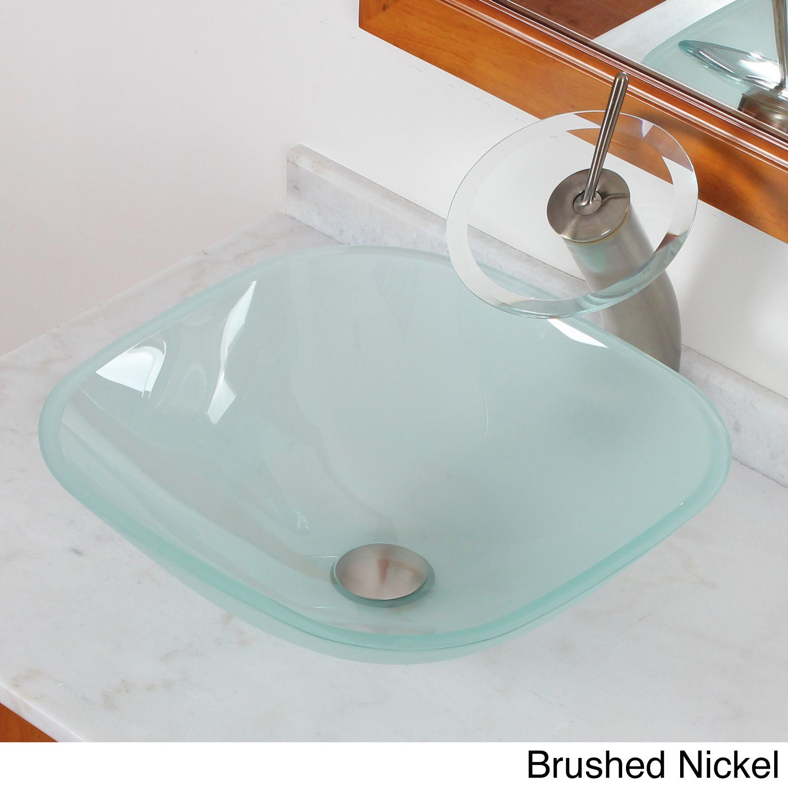 Elite Systems Bathroom Frosted Square Glass Vessel Sink &...