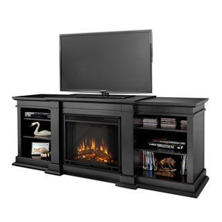 Real Flame Fresno Black 71.73 in. L x 18.98 in. D x 29.8 in. H Electric Entertainment Fireplace