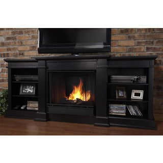 Real Flame Fresno Black 71.73 in. L x 18.98 in. D x 29.88 in. H Entertainment Center Gel Fuel Fireplace