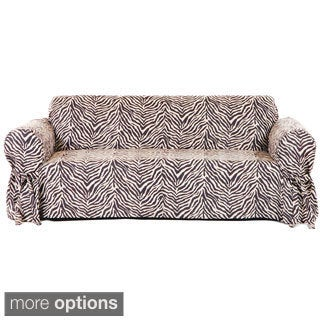 One-piece Microsuede Animal Print Loveseat Slipcover