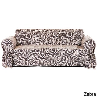 One-piece Microsuede Animal Print Loveseat Slipcover (2 options available)