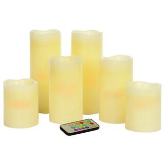 Sage & Co Pillar Candles/ Remote (Set of 6)
