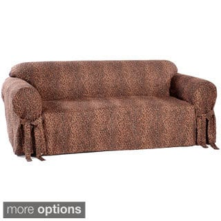 Animal Print Microsuede Sofa Slipcover Option Tan