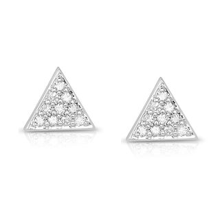 Eloquence 14k White Gold 1/5ct TDW Diamond Triangle Stud Earrings (H-I, I1-I2)