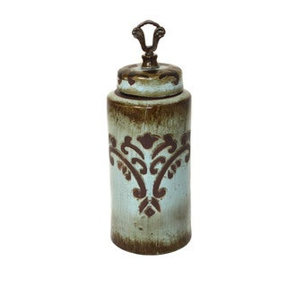 Patmos Turquoise 17-inch Tall Ceramic Decorative Accent Jar