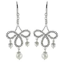 Sterling Silver White Freshwater Pearl Chandelier Earrings (4-6.5 mm)