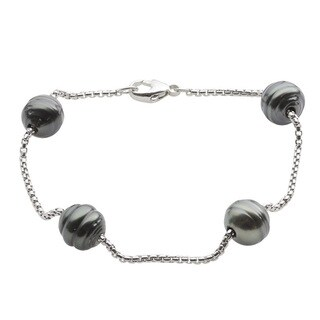 Sterling Silver Black Tahitian Pearl Station Bracelet (9-10 mm)