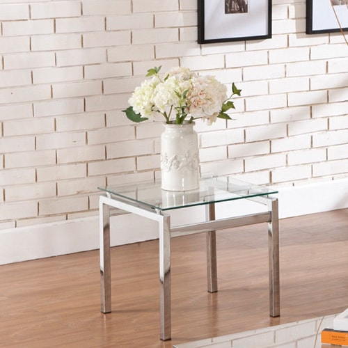 Shop Silver Orchid Olivia Glass Chrome End Table Free Shipping