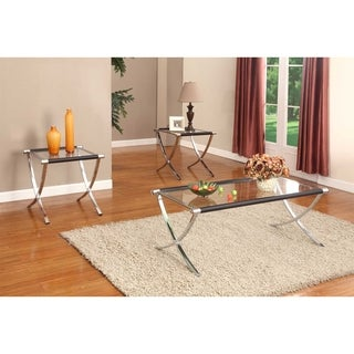 Glass and Chrome Cocktail Table and Two End Tables