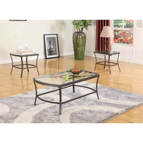 Shop KB Pewter And Glass Cocktail Table And Two End Tables Free - Pewter glass coffee table