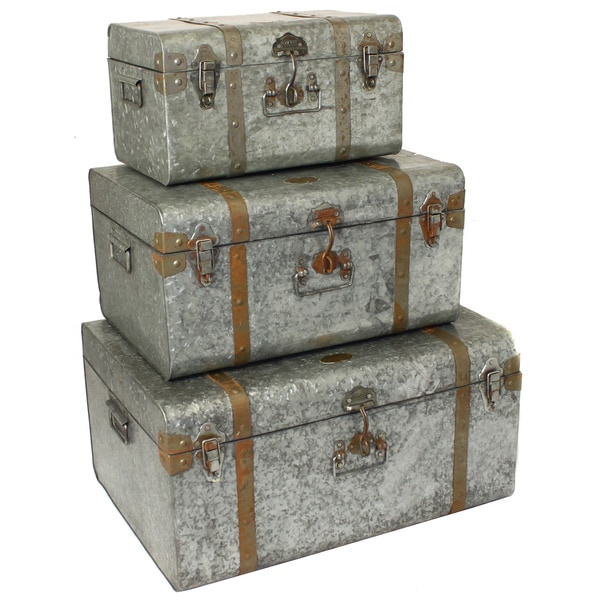 Diamond Galvanized Metal Decorative Trunk Cases