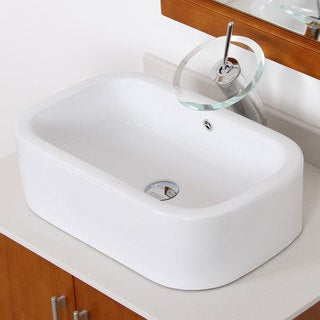 Elite C171F22TC High Temperature Grade A Oval Ceramic Bathroom Sink and Chrome Finish Waterfall Faucet Combo