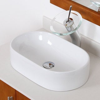 Elite C842F22TC High Temperature Grade A Oval Ceramic Bathroom Sink and Chrome Finish Waterfall Faucet Combo