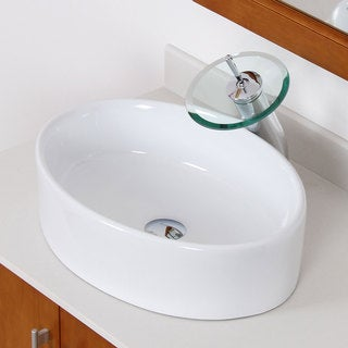 Elite 4312F22TC High Temperature Grade A Oval Ceramic Bathroom Sink and Chrome Finish Waterfall Faucet Combo