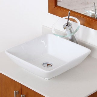 Elite 4322F22TC High Temperature Grade A Square Ceramic Bathroom Sink and Chrome Finish Waterfall Faucet Combo