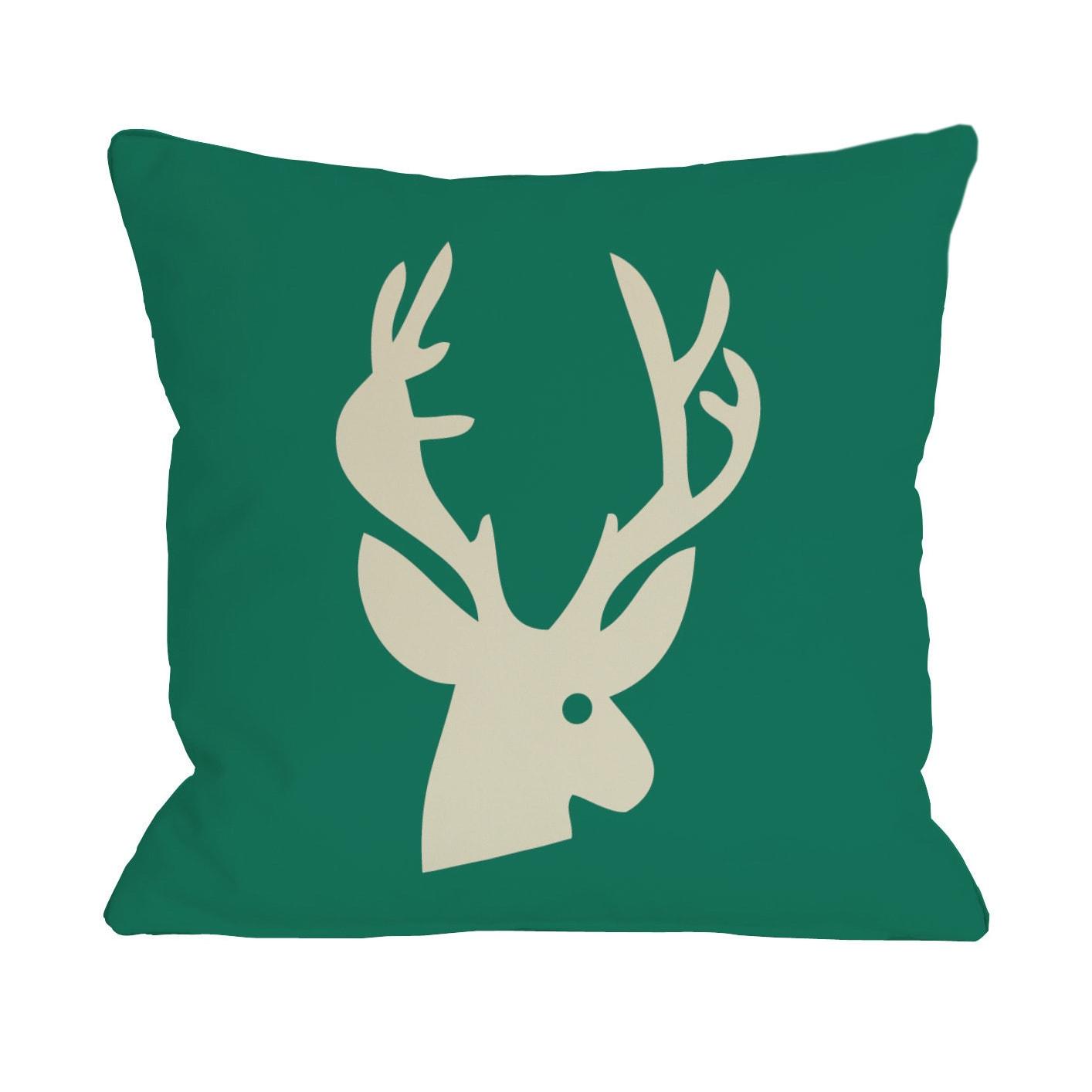 Deer Plaid Throw Pillow (18 x 18 Pillow)