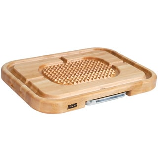 John Boos AZ2418225-P-LG Maple Aztec 24x18 Cutting Board and Juice Groove Pan