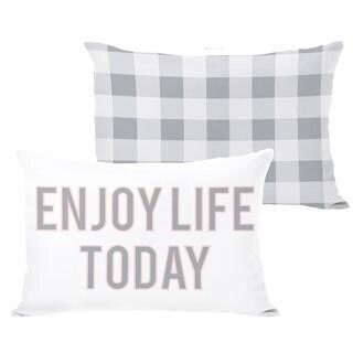 Enjoy Life Today Block Letter Gingham Throw Pillow