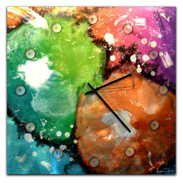 Colorful Abstract Clock 'Radioactive' Neon Paint-Splatter Metal Wall Clock