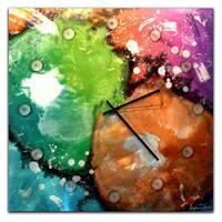 Colorful Abstract Clock 'Radioactive' Neon Paint-Splatter Metal Wall Clock