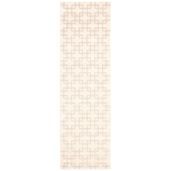 kathy ireland Hollywood Shimmer Architectural Times Square Bisque Area Rug by Nourison - 2'3 x 8'
