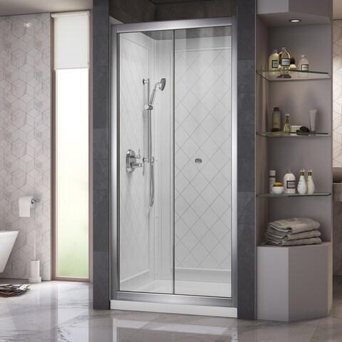 DreamLine Butterfly Frameless Bi-Fold Shower Door, 36 in. by 36 in. Single Threshold Shower Base and QWALL-5 Shower Backwall Kit