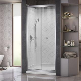 DreamLine Butterfly Frameless Bi-Fold Shower Door, 36 x 36-inch Single Threshold Shower Base, and QWALL-5 Shower Backwall Kit