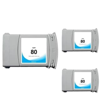 INSTEN HP 80 Cyan Ink Cartridge (Remanufactured) (Pack of 3)