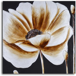 'Coffee and white poppy' Hand Painted Canvas Art