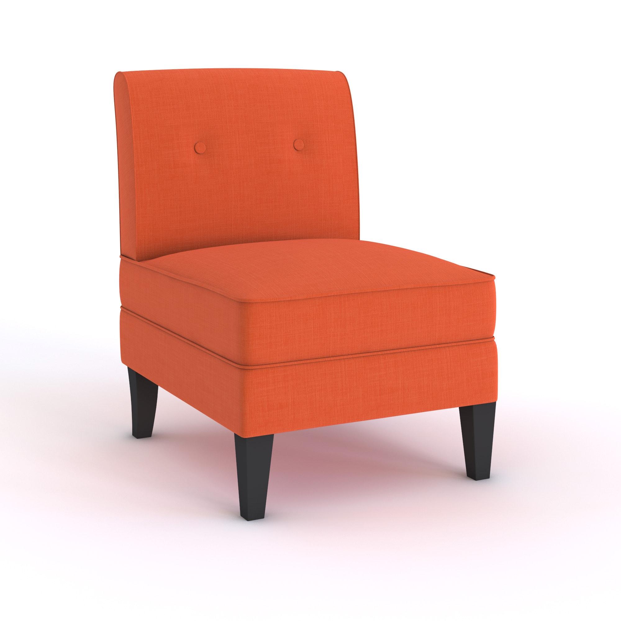 Highland Shoshone Orange Linen Armless Chair Free Shipping