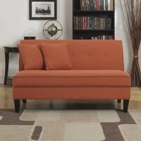 Handy Living Engle Orange Linen Armless Loveseat