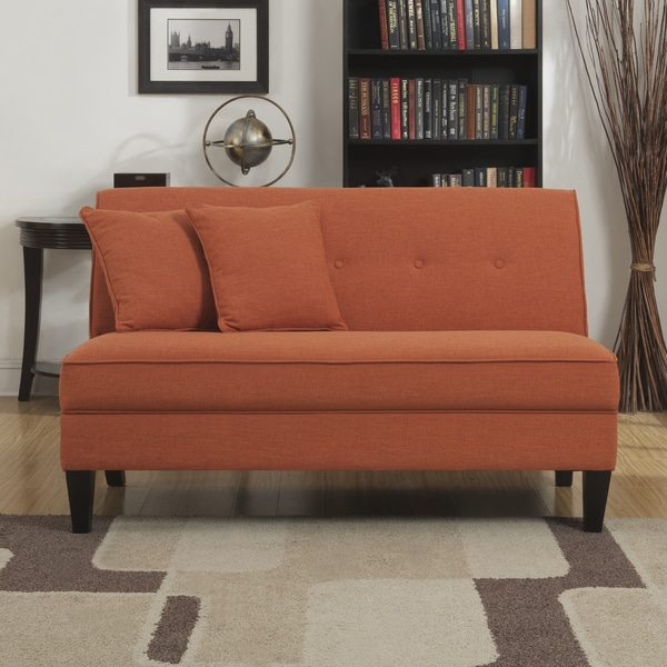 handy living engle orange linen armless loveseat