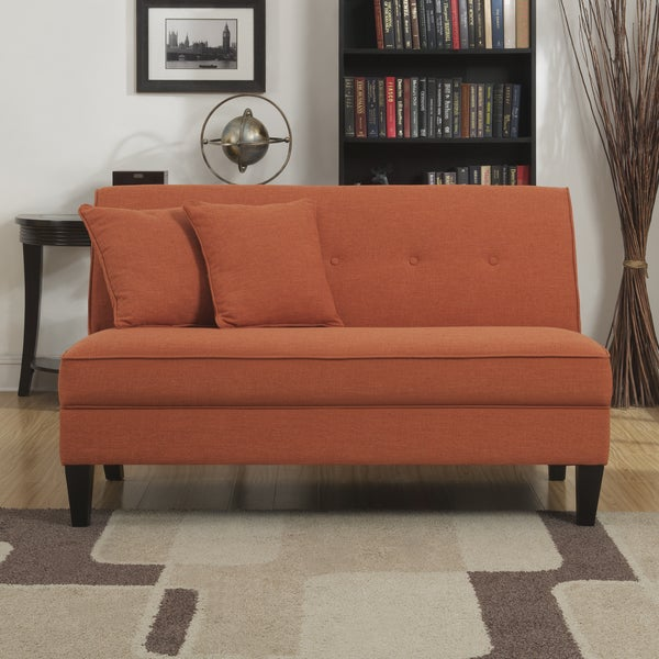 Handy Living Engle Orange Linen Armless Loveseat Free