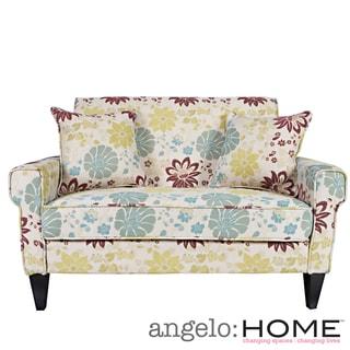 Handy Living Ennis Spring Sandstone Beige and Blue Floral Loveseat