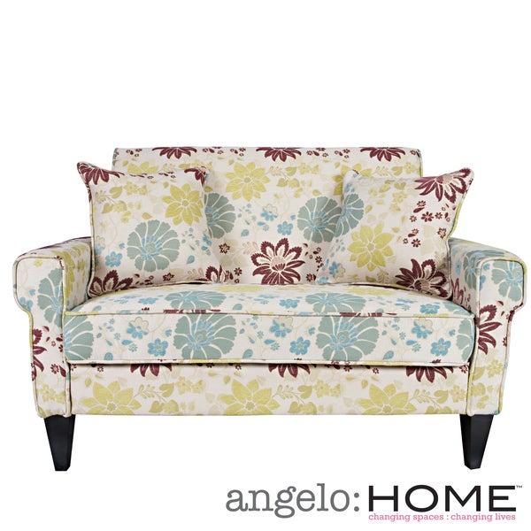 angelo:HOME Ennis Spring Sandstone Beige and Blue Floral Loveseat