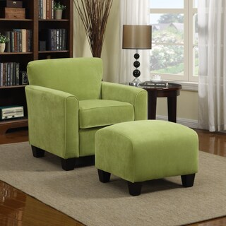 Handy Living Park Avenue Spring Green Velvet Arm Chair and Ottoman
