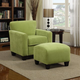 Porch & Den Highland Kalamath Spring Green Velvet Arm Chair and Ottoman