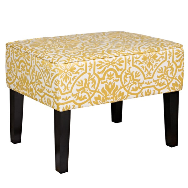 Handy Living Brighton Hill Modern Damask Golden Yellow and Cream Small Bench
