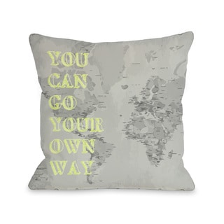 Go Your Own Way Map Throw Pillow