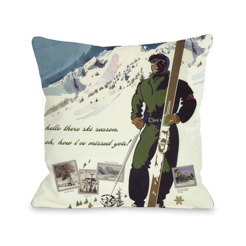 Hello There Ski Season Vintage Ski Throw Pillow